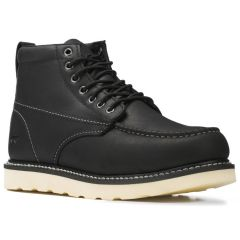 Casual Lace Up Lumber Moc Toe Boot Black