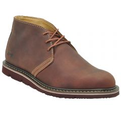 "Mens 5"" Slim Chukka Work Boots Maroon Leather"